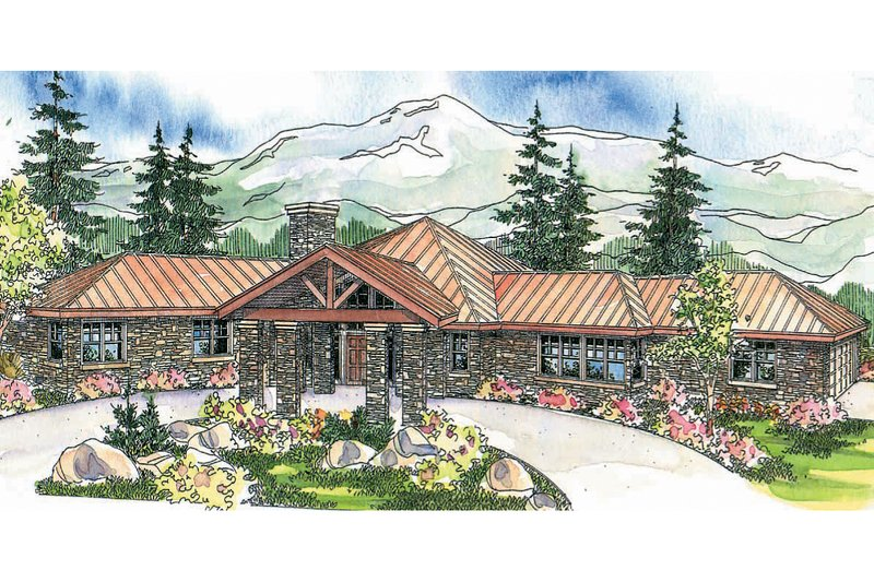 Ranch Exterior - Front Elevation Plan #124-575