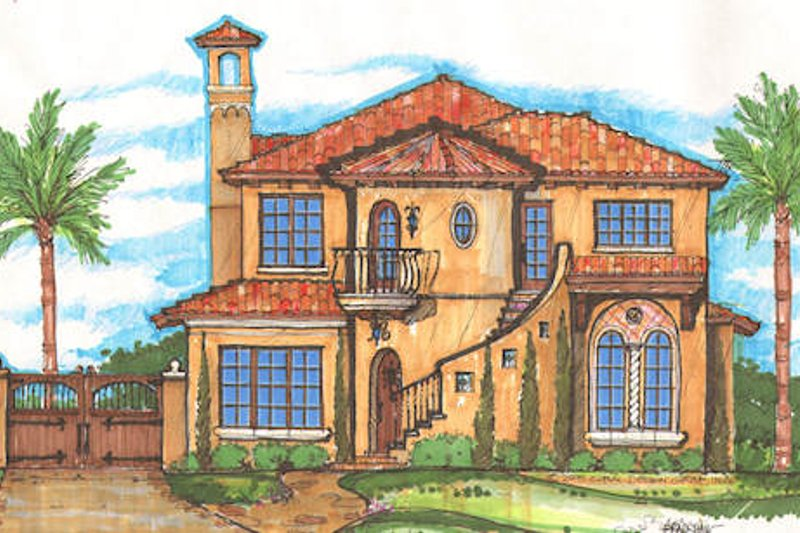 Mediterranean Style House Plan - 4 Beds 3.5 Baths 3455 Sq/Ft Plan #135-151 Exterior - Front Elevation