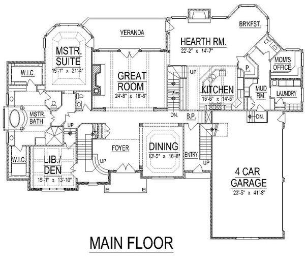 European Floor Plan - Main Floor Plan Plan #458-13
