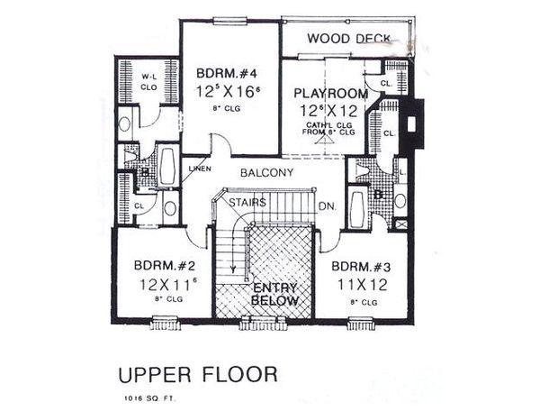 Colonial Floor Plan - Upper Floor Plan #310-902