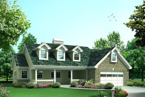 Home Plan - Country Exterior - Front Elevation Plan #57-696