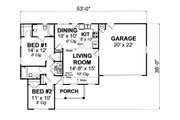 Country Style House Plan - 2 Beds 2 Baths 960 Sq/Ft Plan #513-2057 Floor Plan - Main Floor