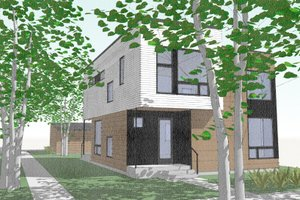 Modern Exterior - Front Elevation Plan #909-2