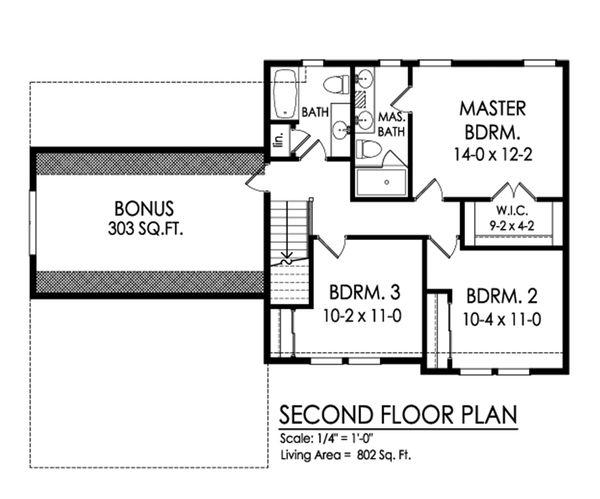 Traditional Floor Plan - Upper Floor Plan #1010-236