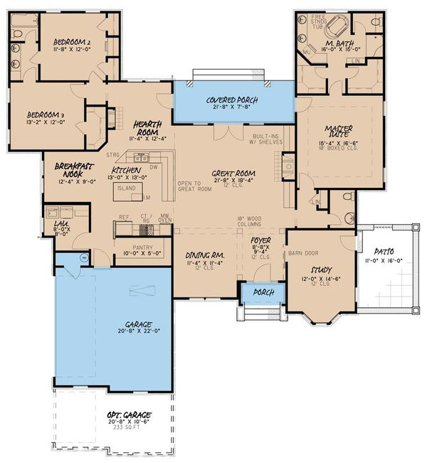 European Floor Plan - Main Floor Plan Plan #923-33