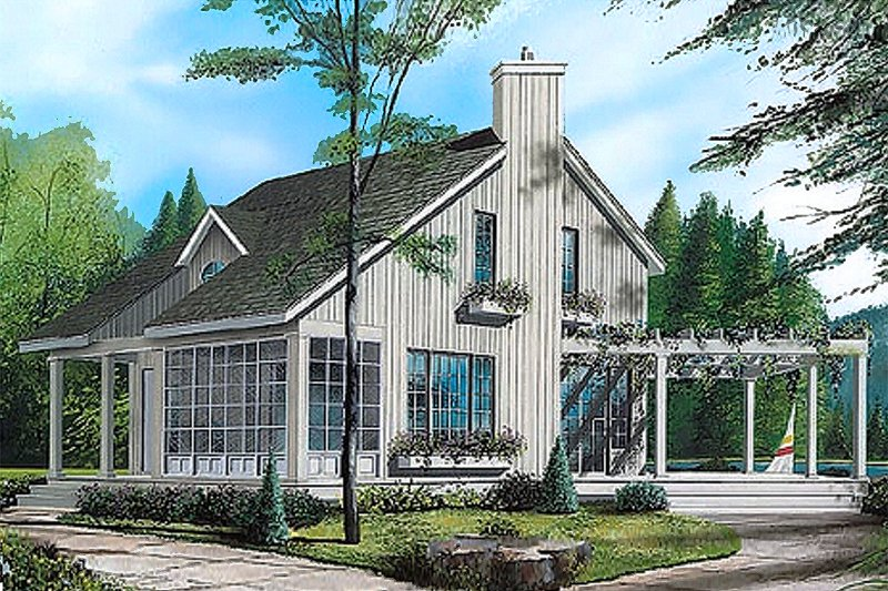 Contemporary Style House Plan - 2 Beds 1.5 Baths 1056 Sq/Ft Plan #23-2035 Exterior - Front Elevation