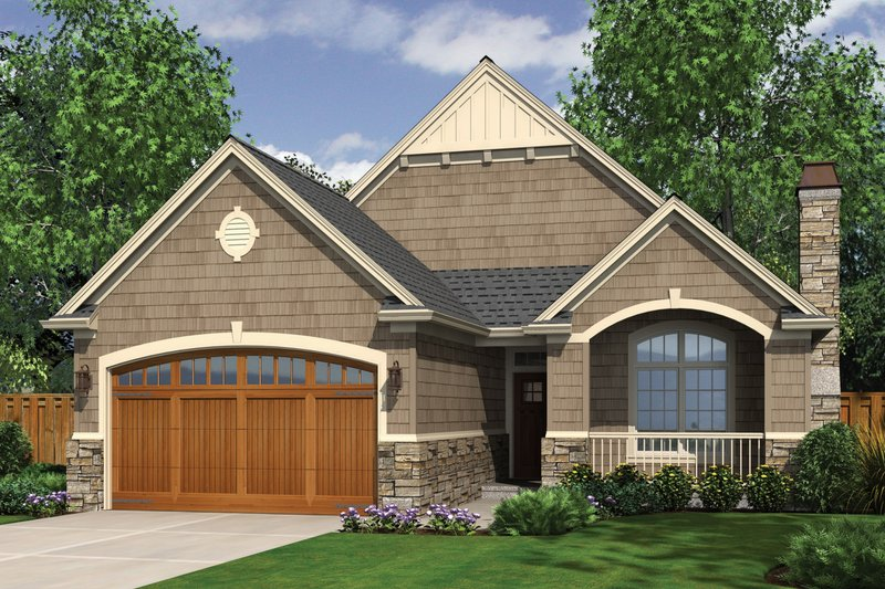 Architectural House Design - Front View - 1275 square foot Craftsman home