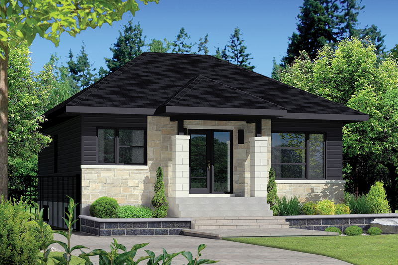 Contemporary Style House Plan - 2 Beds 1 Baths 900 Sq/Ft Plan #25-4271 Exterior - Front Elevation