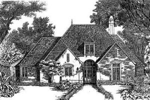 European Exterior - Front Elevation Plan #301-104