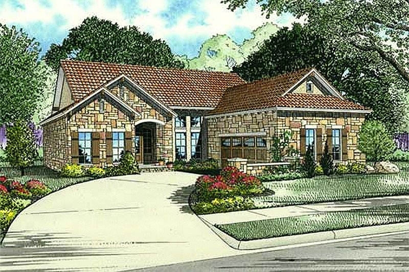 European Style House Plan - 3 Beds 2 Baths 2369 Sq/Ft Plan #17-113 Exterior - Front Elevation