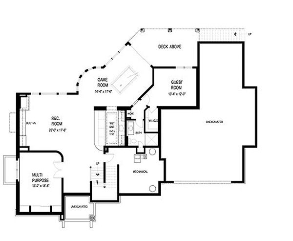 Traditional Floor Plan - Lower Floor Plan Plan #56-605