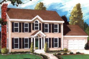 Colonial Exterior - Front Elevation Plan #3-172