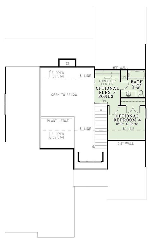 Traditional Floor Plan - Upper Floor Plan Plan #17-2435