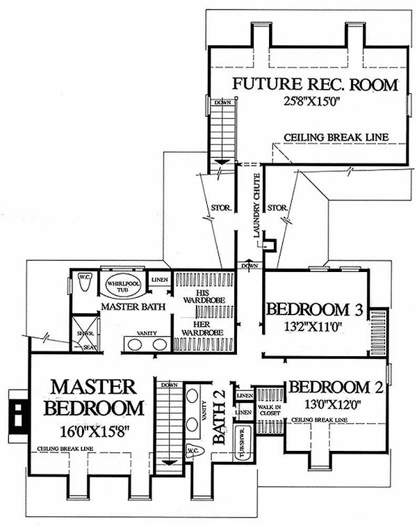 Colonial Floor Plan - Upper Floor Plan Plan #137-178