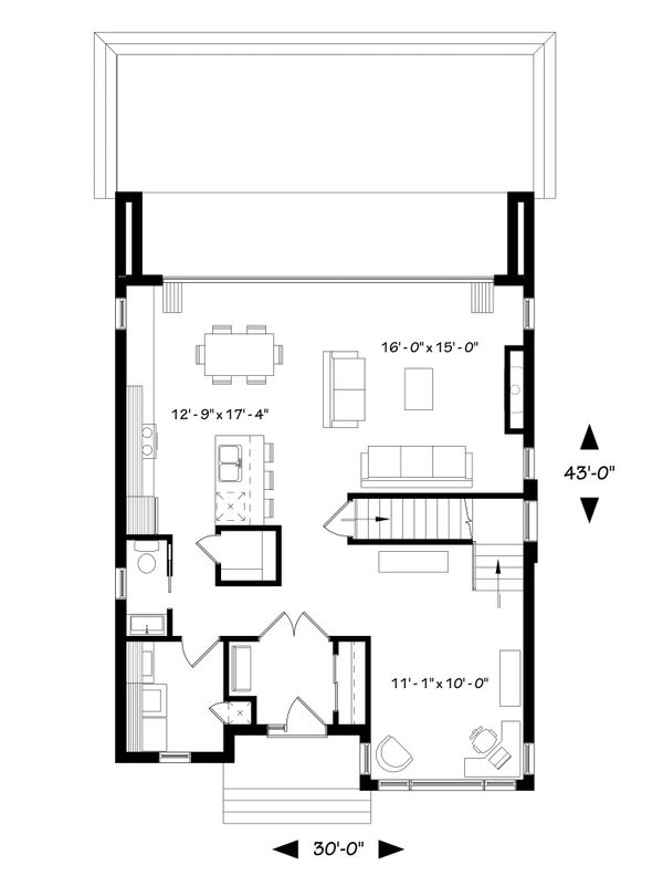Contemporary Floor Plan - Main Floor Plan Plan #23-2646