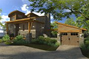 Contemporary Style House Plan - 2 Beds 2 Baths 985 Sq/Ft Plan #120-190 Exterior - Front Elevation