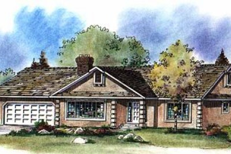 House Blueprint - Ranch Exterior - Front Elevation Plan #18-102