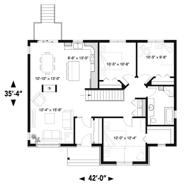 House Plan Design - Craftsman Floor Plan - Main Floor Plan #23-2666