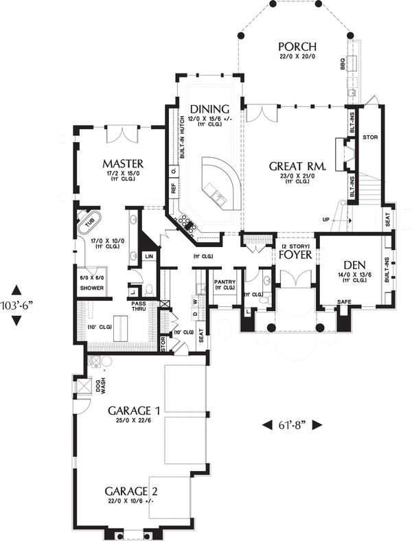European Floor Plan - Main Floor Plan Plan #48-650