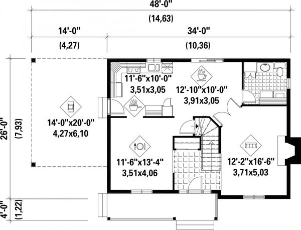 Farmhouse Floor Plan - Main Floor Plan Plan #25-4262