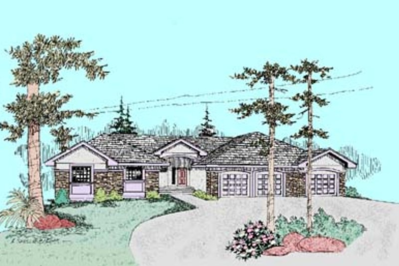 Traditional Exterior - Front Elevation Plan #60-444 - Houseplans.com