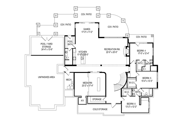 Craftsman Floor Plan - Lower Floor Plan Plan #920-111