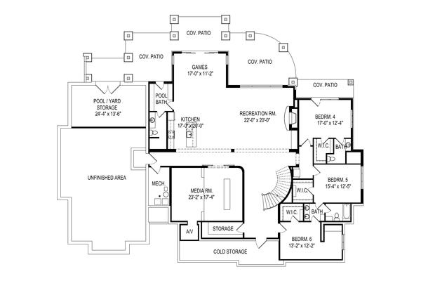 Craftsman Floor Plan - Lower Floor Plan Plan #920-111