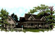 Farmhouse Style House Plan - 4 Beds 3.5 Baths 3493 Sq/Ft Plan #56-222 Exterior - Front Elevation
