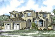 Mediterranean Style House Plan - 5 Beds 6.5 Baths 5076 Sq/Ft Plan #420-163 Exterior - Front Elevation