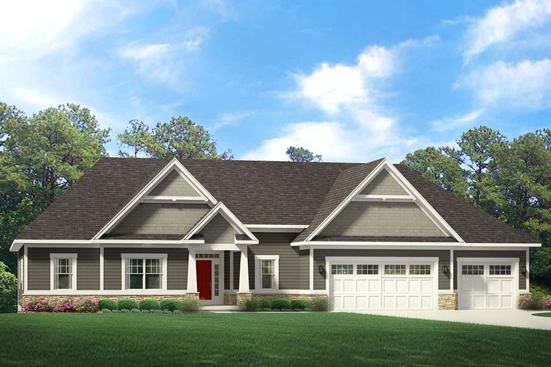 Ranch Exterior - Front Elevation Plan #1010-225