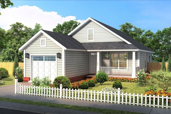 Cottage Exterior - Front Elevation Plan #513-2187