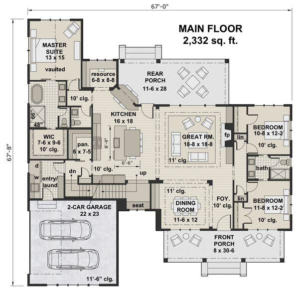 Farmhouse Floor Plan - Main Floor Plan #51-1141