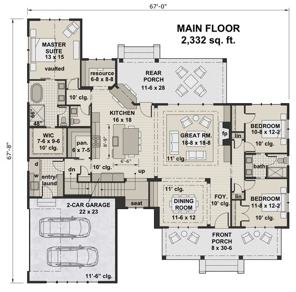 Farmhouse Floor Plan - Main Floor Plan Plan #51-1141