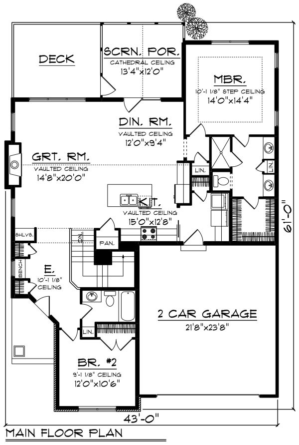 Craftsman Floor Plan - Main Floor Plan Plan #70-1263