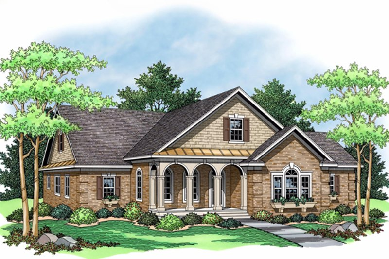 Traditional Style House Plan - 3 Beds 2 Baths 2088 Sq/Ft Plan #51-485 Exterior - Front Elevation