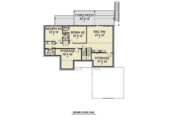 Craftsman Floor Plan - Lower Floor Plan #1070-128
