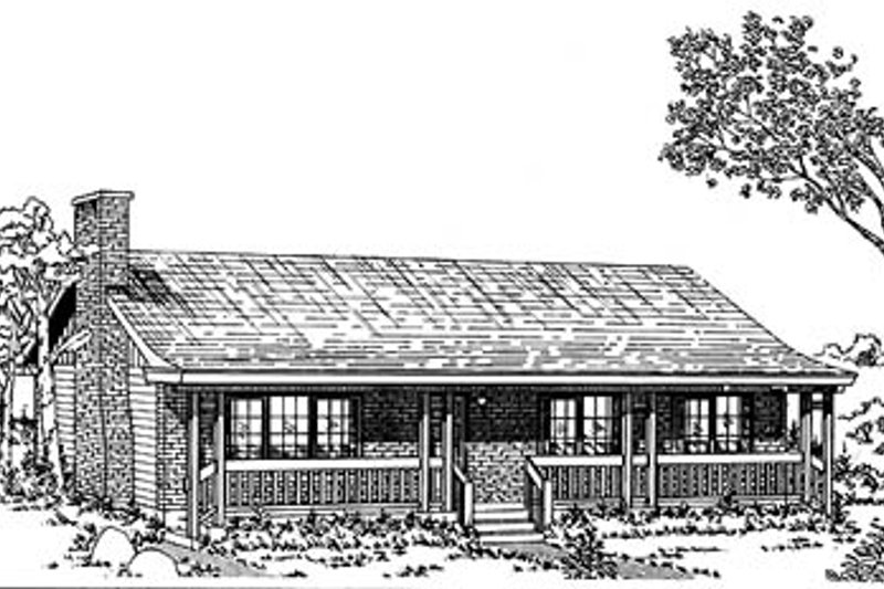 Ranch Style House Plan - 3 Beds 2 Baths 1356 Sq/Ft Plan #47-121 Exterior - Front Elevation