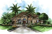 European Style House Plan - 4 Beds 4 Baths 4378 Sq/Ft Plan #27-331 Exterior - Front Elevation