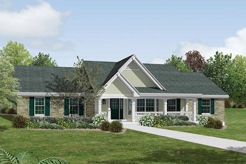 Dream House Plan - Farmhouse Exterior - Front Elevation Plan #57-356