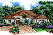 Mediterranean Style House Plan - 5 Beds 3 Baths 3447 Sq/Ft Plan #27-419 Exterior - Front Elevation