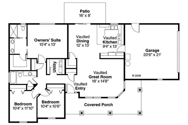 Craftsman Floor Plan - Main Floor Plan Plan #124-695