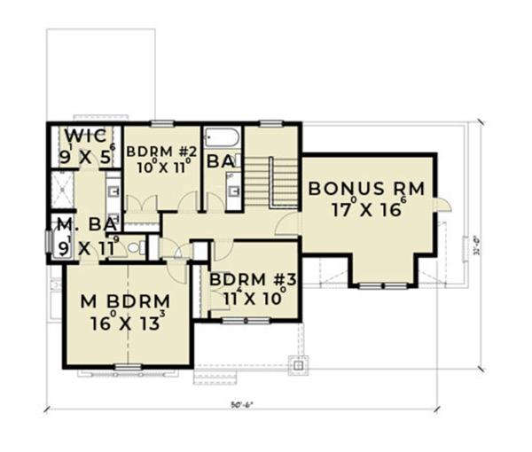 Farmhouse Floor Plan - Upper Floor Plan Plan #1070-1