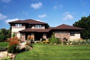 Prairie Style House Plan - 3 Beds 2.5 Baths 2896 Sq/Ft Plan #51-283 Exterior - Front Elevation