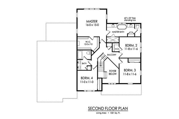 Farmhouse Floor Plan - Upper Floor Plan Plan #1010-227