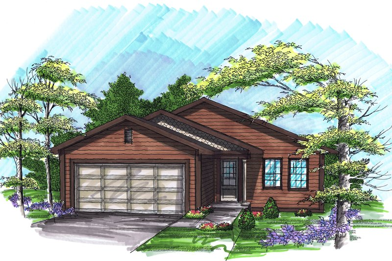 Ranch Exterior - Front Elevation Plan #70-1016