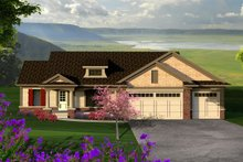 Ranch Exterior - Front Elevation Plan #70-1186
