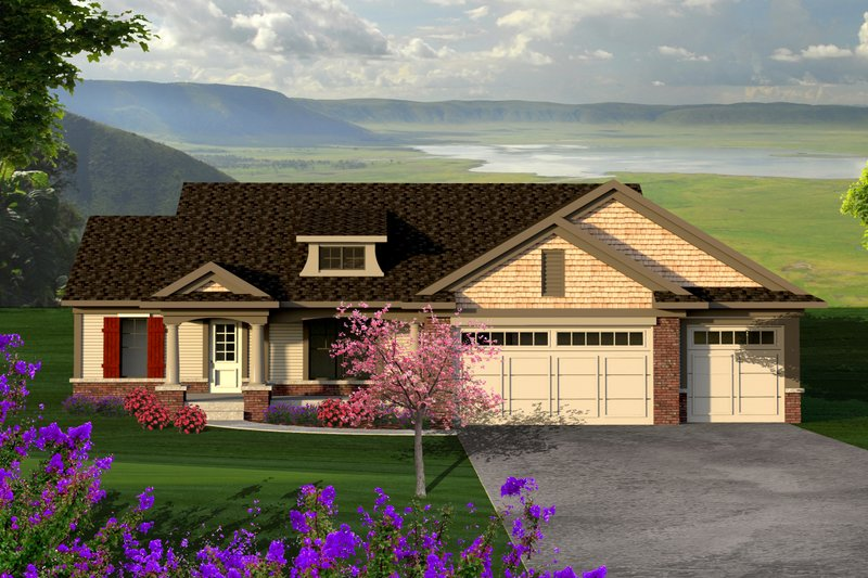 Home Plan - Ranch Exterior - Front Elevation Plan #70-1186