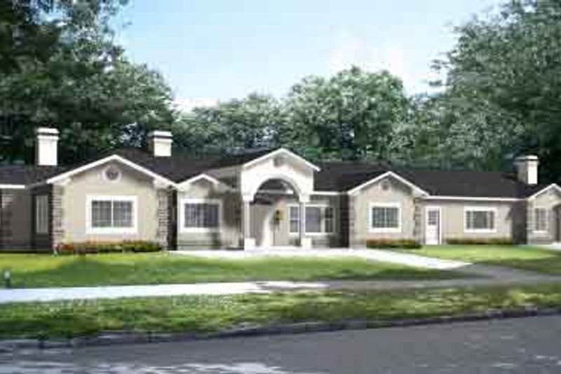 Adobe / Southwestern Style House Plan - 5 Beds 3 Baths 4180 Sq/Ft Plan #1-908 Exterior - Front Elevation