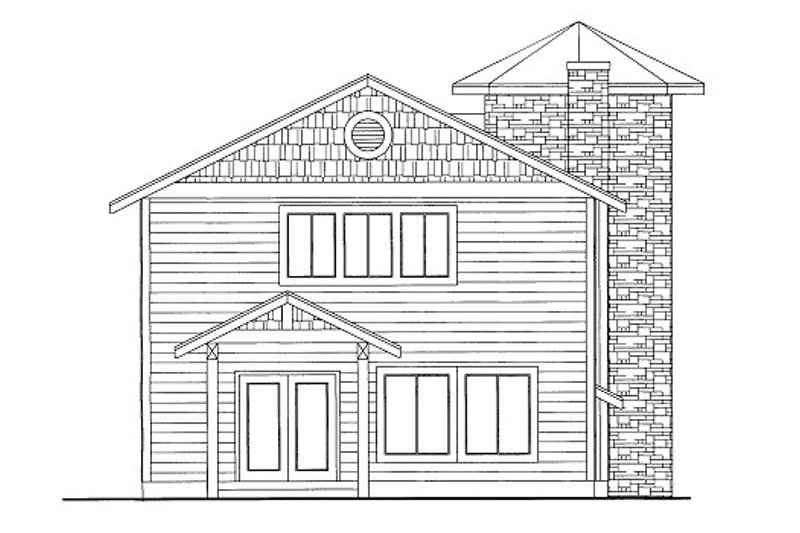 Bungalow Style House Plan - 1 Beds 1.5 Baths 1453 Sq/Ft Plan #117-640 Exterior - Front Elevation