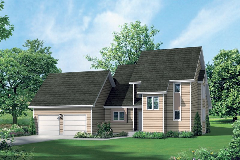 Modern Style House Plan - 3 Beds 2 Baths 1725 Sq/Ft Plan #57-673 Exterior - Front Elevation